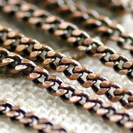 Antique Copper Chain Brass Link Curb Chains for Necklace 1.6mm c92a (6ft)