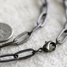 """Gunmetal Black Knurled Link Cable Chain Necklace Blank Black Necklace cn176 18"""""""