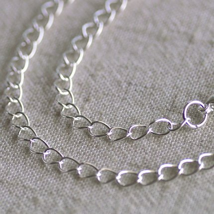 """Sterling Silver Plated Brass Curb Chain Necklace Blank Silver Necklace cn01 30"""""""