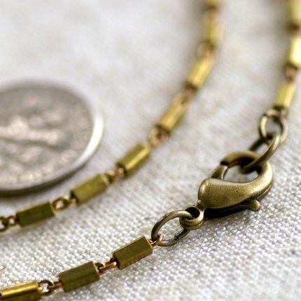"Raw Brass Bar+ Link Blank Chain Necklace cn10 30"""