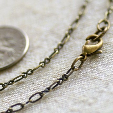 """Antique Bronze Plated Brass Cable Chain Necklace Blank Bronze Necklace cn71a 30"""""""