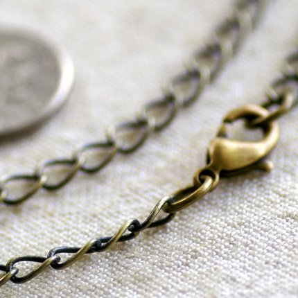 Antique Bronze Brass Chain Necklace Blank Bronze Necklace  cn72a 30""