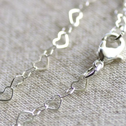 Sterling Silver Plated Brass Heart Link Chains Necklace Blank Silver Chain cn53s-30