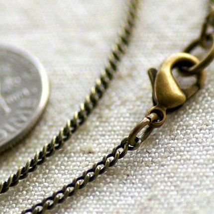 Antique Bronze Brass Chain Necklace Curb Chain Necklace cn12b-30