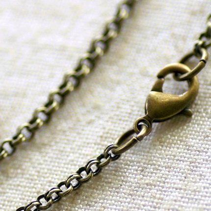 """Antique Bronze Plated Brass Double Round Link Chain Blank Necklace cn100 30"""""""