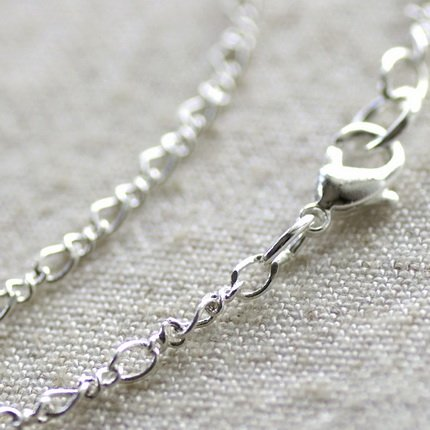 """Sterling Silver Plated Brass Chain Necklace Blank Silver Chain Necklace cn105 30"""""""