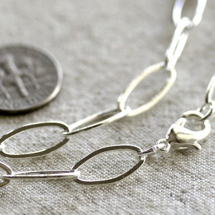 """Sterling Silver Plated Brass Cable Chain Necklace cn108 30"""""""