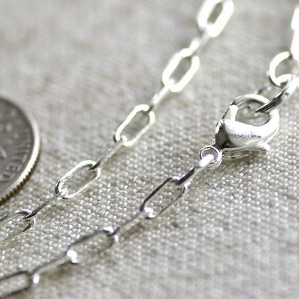 """Sterling Silver Plated Brass Cable Chain Silver Blank Chain Necklace cn125 30"""""""
