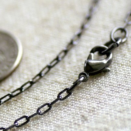 """Gunmetal Black Plated Brass Cable Chain Blank Necklace  cn128 30"""""""