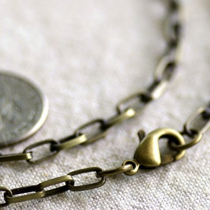 Antique Bronze Blank Necklace Bronze Cable Chain Necklace cn143 30""