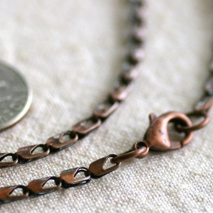Antique Copper Filigree Blank Necklace Water Drop Chains Necklace cn168 30""