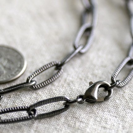 """Gunmetal Black Plated Metal Blank Necklace Cable Chains Necklace cn176 30"""""""