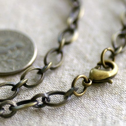 Antique Bronze Plated Blank Necklace Bronze Cable Chain Necklace cn178 30""