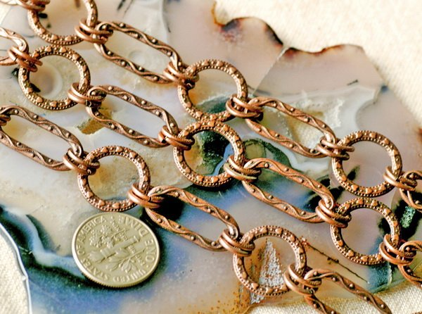 2ft Antique Copper Tibetan Silver Filigree Chains h06d