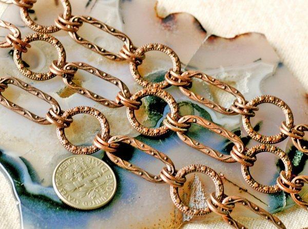 6ft Antique Copper Filigree Tibetan Silver Fancy Chains h06d