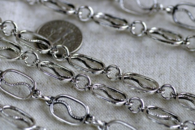 Tibetan Silver Filigree Chains Antique Silver Plated Chains h10ab (6ft)