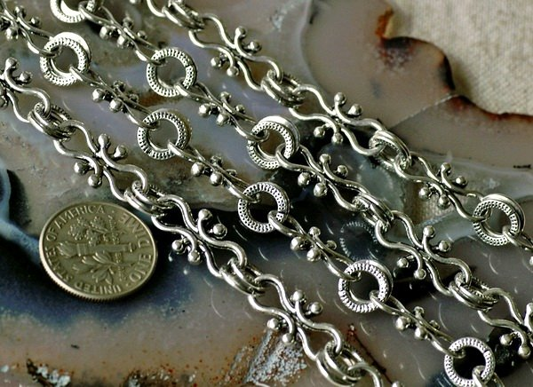 2ft Antique Silver Plated Filigree Tibetan Silver Chains Open Links h11b