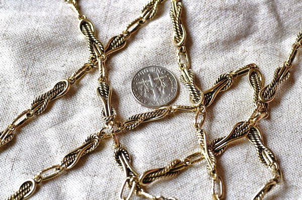 6ft Antique Golden Plated Metal Tibetan Silver Chains h24a