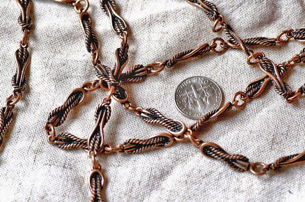 2ft Antique Copper Plated Tibetan Silver Filigree Chains Necklace h24d
