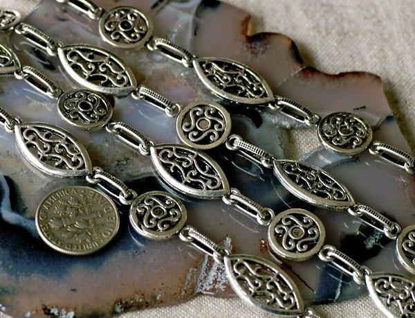 6ft Antique Silver Plated Tibetan Silver Filigree Fancy Chains h33b