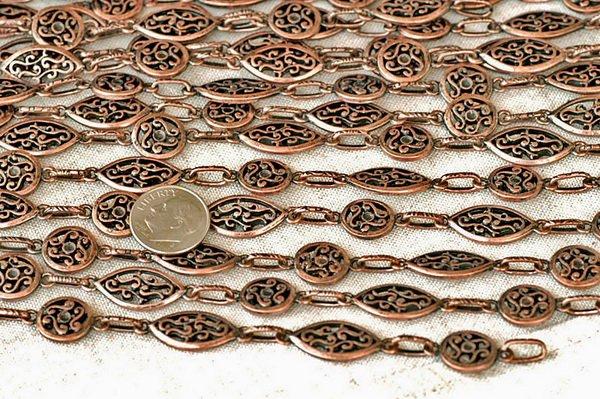 2ft Antique Copper Plated Filigree Tibetan Silver Fancy Chains h33d