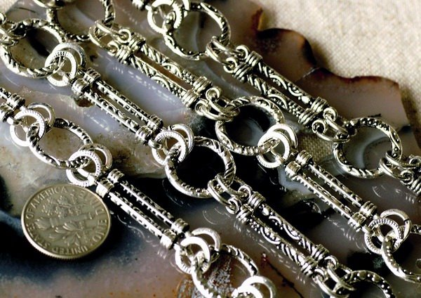 2ft Antique Silver Plated Tibetan Silver Fancy Filigree Chains h40b