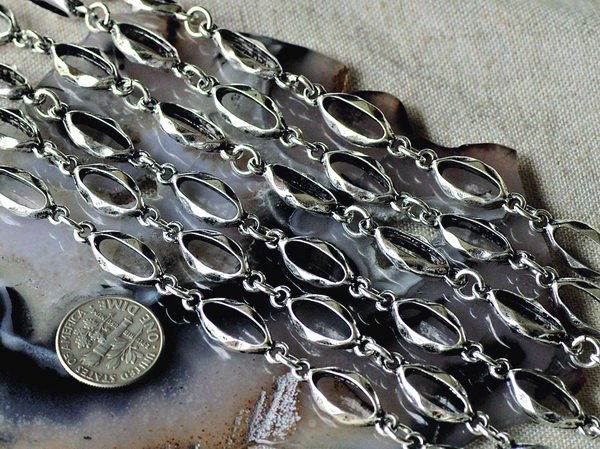 Antique Silver Plated Tibetan Silver Fancy Chains Necklace h73b (6ft)
