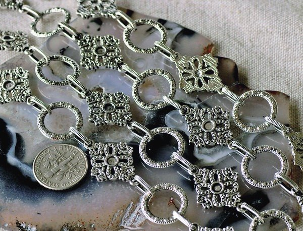 6ft Antique Silver Plated Tibetan Silver Chains Necklace h131b