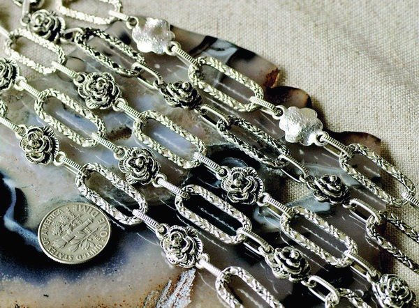 6ft Antique Silver Plated Tibetan Style Fancy Chains Necklace h137b