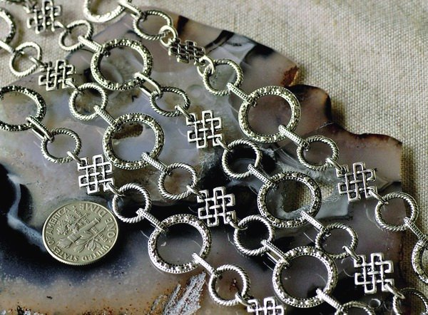 2ft Antique Silver Plated Tibetan Silver Fancy Chains Necklace h142b