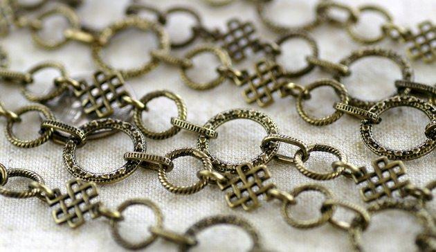 2ft Antique Bronze Plated Metal Tibetan Silver Fancy Chains Necklace j142c