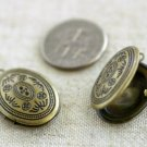 4pcs Antique Bronze Plated Brass Round Locket Charms Pendant b26b