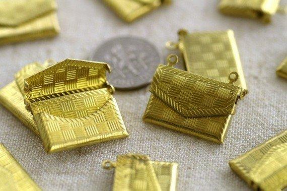 6pcs Solid Brass Filigree Wallet Locket Charms Pendant 21x17mm b64