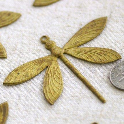 2 Very Large Oxidized Brass Dragonfly Charm Pendant b68