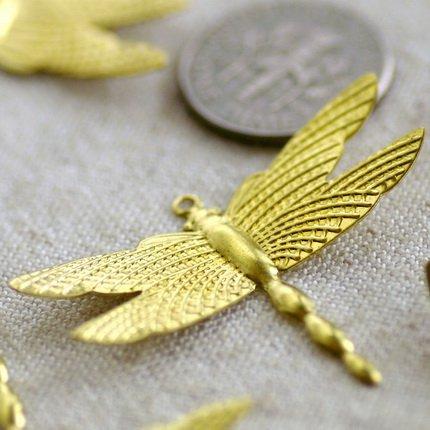 12pcs Large Solid Brass Filigree Dragonfly Charm Pendant b69