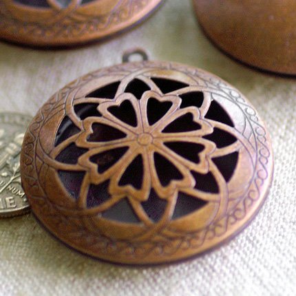Antique Copper Plated Metal Locket Hollow Filigree Charms Pendant b78d (10pcs)