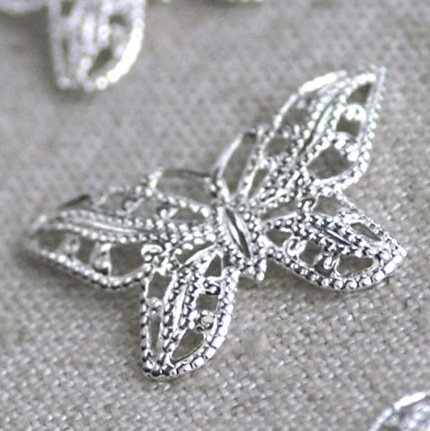 20pcs Silver Plated Brass Butterfly Filigree Charms Wraps 22mm be28s