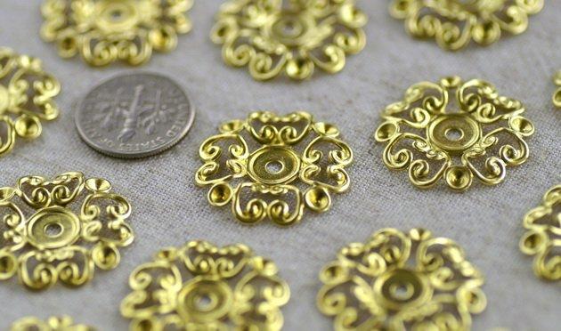 8pcs Brass Stamping Filigree Artistic pattern Wraps Finding bp02