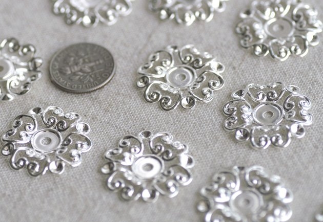 8pcs Sterling Silver Plated Brass Stamping Filigree Artistic pattern bp02s