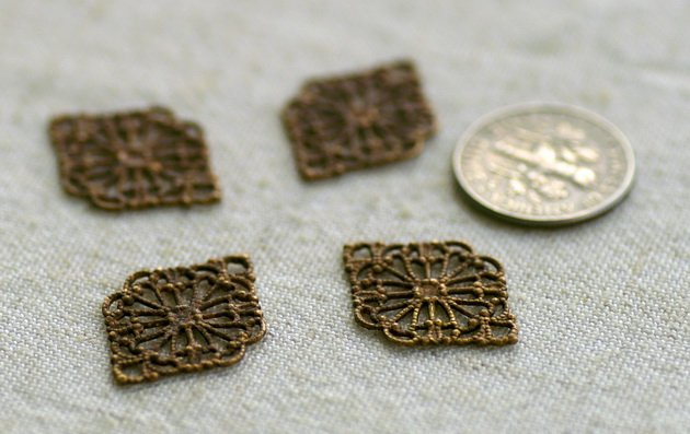 Oxidized Brass Filigree Wrap Patina Connector 21x15mm bp45 (12pcs)