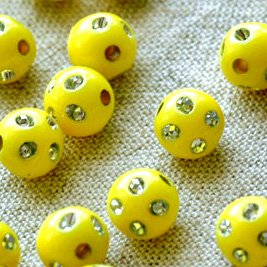 Yellow Flower Point Sparkling Plastic Ball Round Beads 8mm p093 (400pcs)