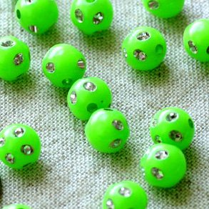 Green Flower Point Sparkling Plastic Ball Round Beads 8mm p102 p102 (400pcs)