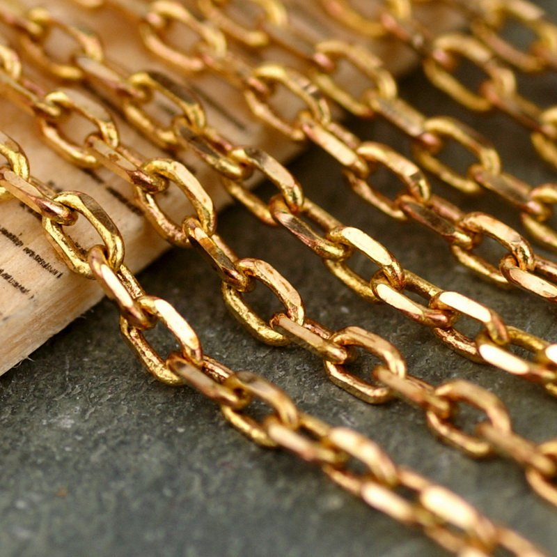 Solid Red Brass Chain Link Cable Chains 2.5x1.5mm c43(5ft)