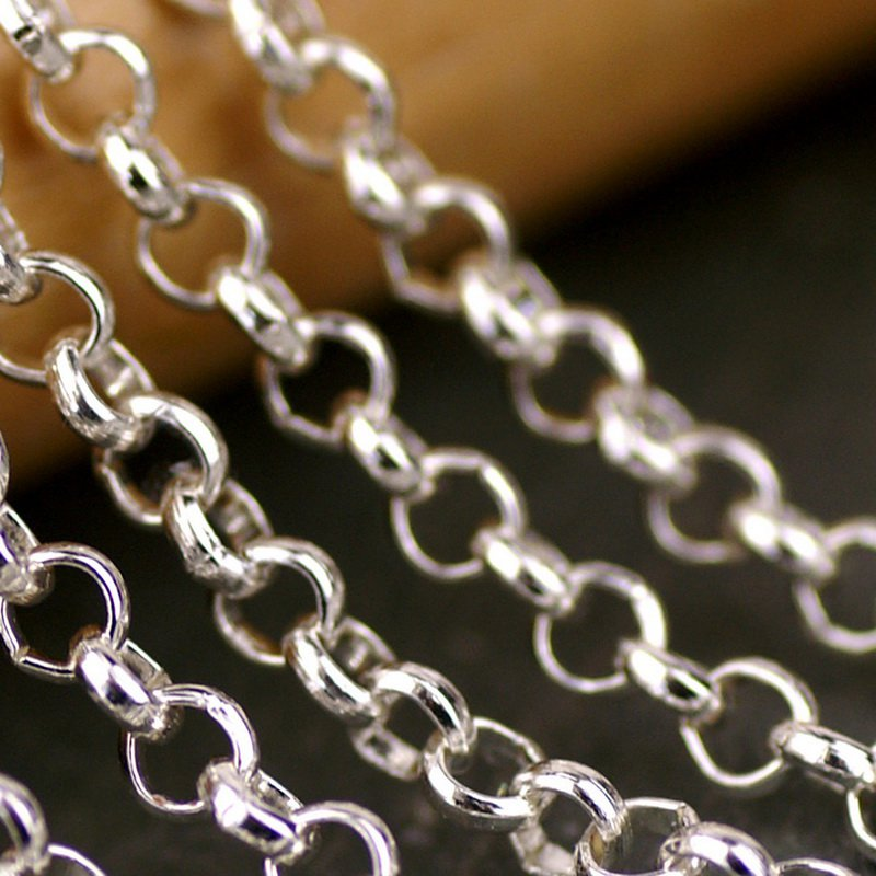 Sterling Silver Plated Brass Round Link Rolo Chains c77(3ft)