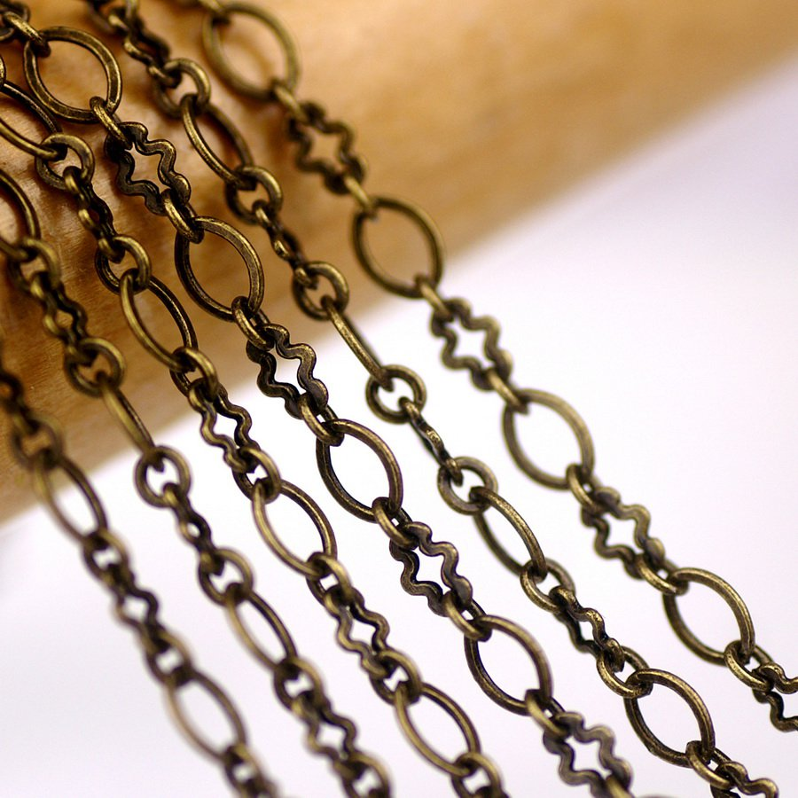 Antique Bronze Plated Brass Link Chains For Necklace 3.1mm c80a(3ft)