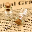 Small Tiny Clear Glass Bottles Vials Charms Pendants 13x18mm with Cork & Eyehook GB09 (5pcs)