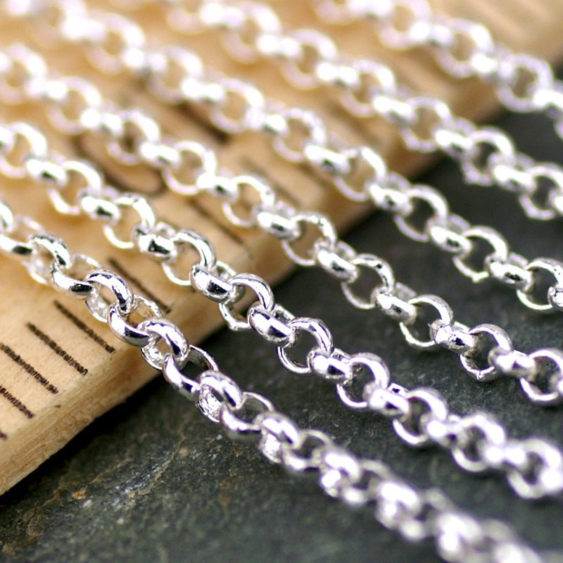 Sterling silver Plated Round Link Rolo Chains c151 (4ft)