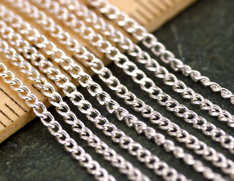 Sterling Silver Plated Brass Small Link Curb Chain 1.6mm c93(6ft)