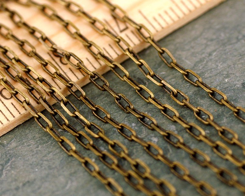 Antique Bronze brass chain Link cable Chains for necklace 3.5x1.6mm c127(6ft)