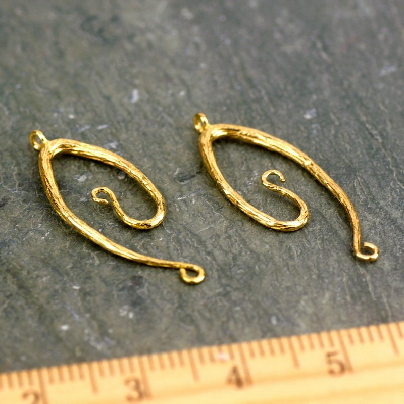 Solid Brass Vine Connector Charm Earing Finding be39 4pcs